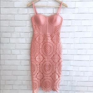Dresses & Skirts - Pink Bandage Lace Dress (S) - small